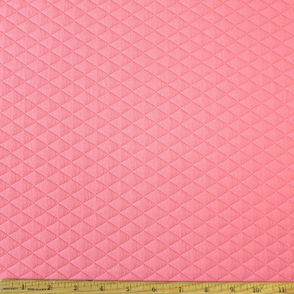 Bright Salmon Diamond Quilted Jacquard Knit, 1 Yard