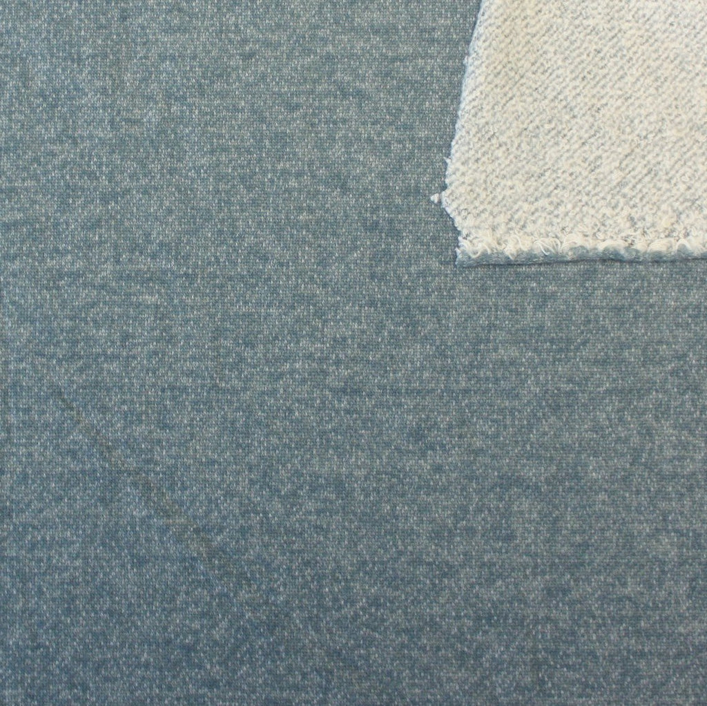 Dusty Teal Blue Brushed Heathered French Terry Knit Fabric - Raspberry Creek Fabrics