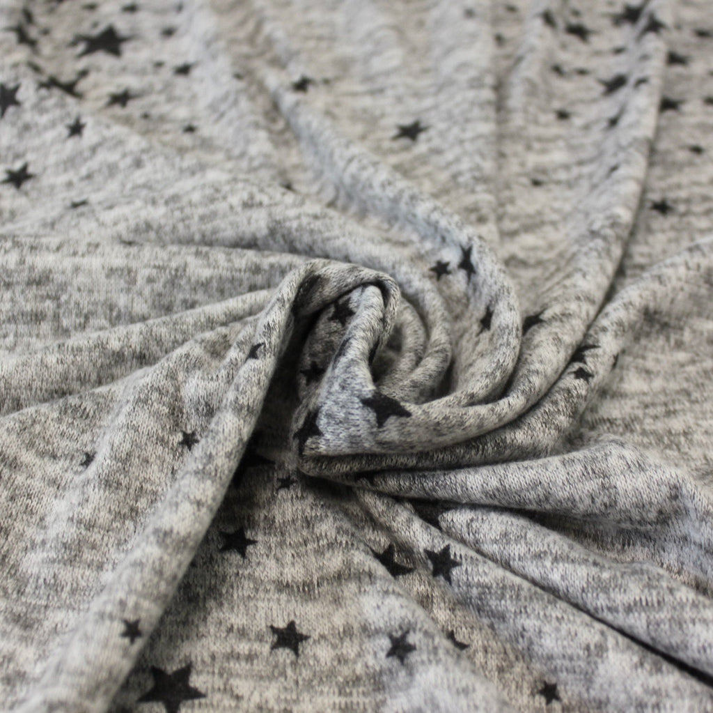Grey and Black Tossed Star Brushed Heathered Hacci Sweater Knit Fabric, 1 Yard