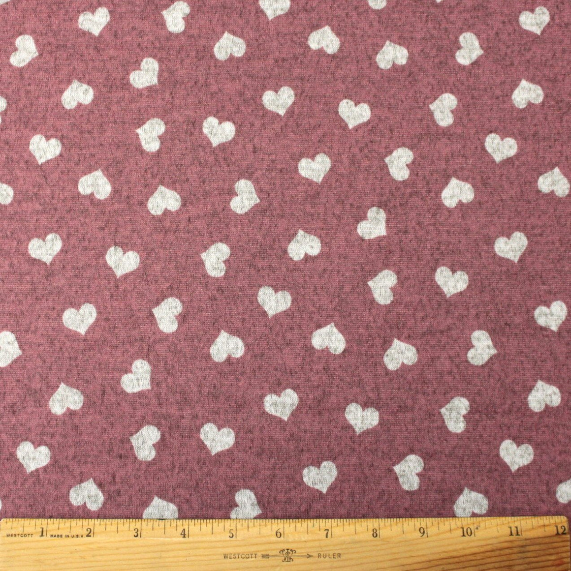Mauve and Grey Tossed Heart Brushed Heathered Hacci Sweater Knit Fabric, 1 Yard