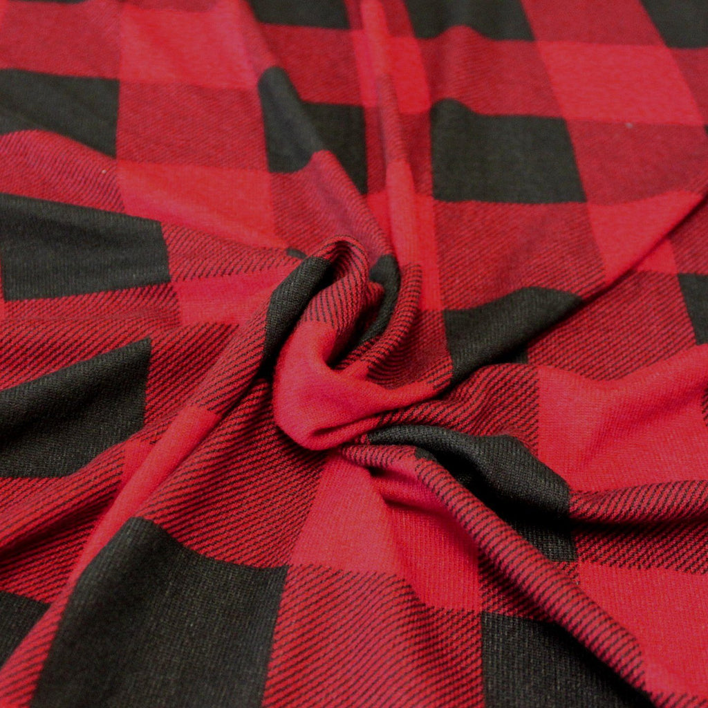 Red and Black Buffalo Plaid Brushed Heathered Hacci Sweater Knit Fabric, 1 Yard