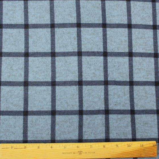 Tonal Blue and Navy Blue Windowpane Plaid Brushed Heathered Hacci Sweater Knit Fabric, 1 Yard