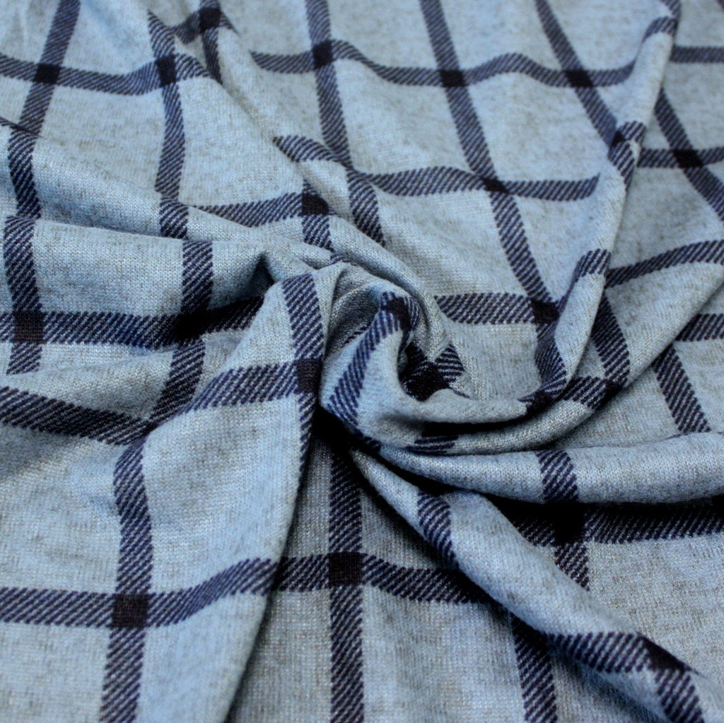 Tonal Blue and Navy Blue Windowpane Plaid Brushed Heathered Hacci Sweater Knit Fabric, 1 Yard - Raspberry Creek Fabrics