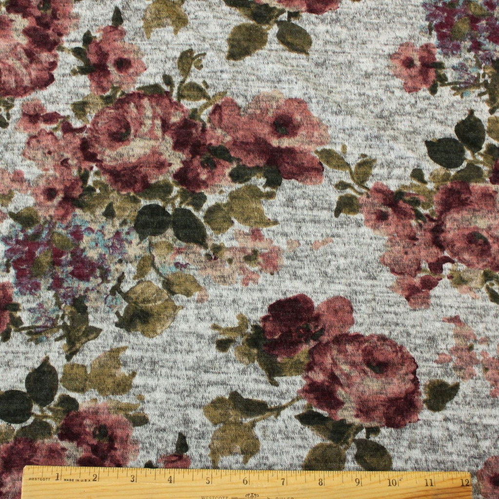 Grey Mauve Burgundy Olive and Aqua Floral Brushed Heathered Hacci Sweater Knit Fabric, 1 Yard