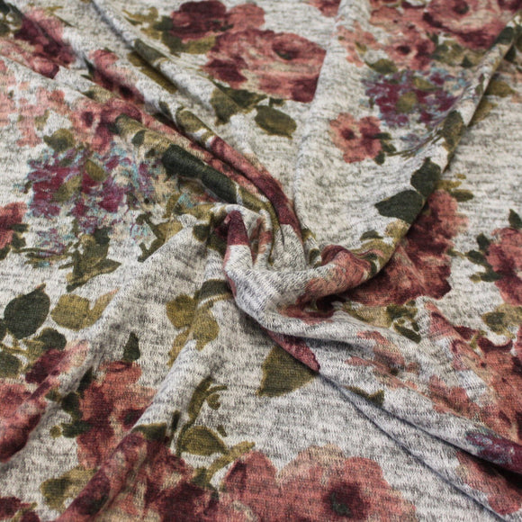 Grey Mauve Burgundy Olive and Aqua Floral Brushed Heathered Hacci Sweater Knit Fabric, 1 Yard - Raspberry Creek Fabrics