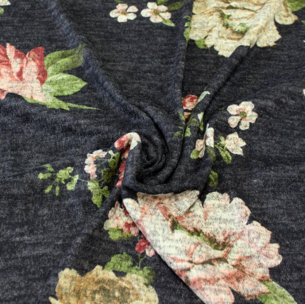 Navy Blue Beige Burgundy and Green Large Floral Brushed Heathered Hacci Sweater Knit Fabric, 1 Yard