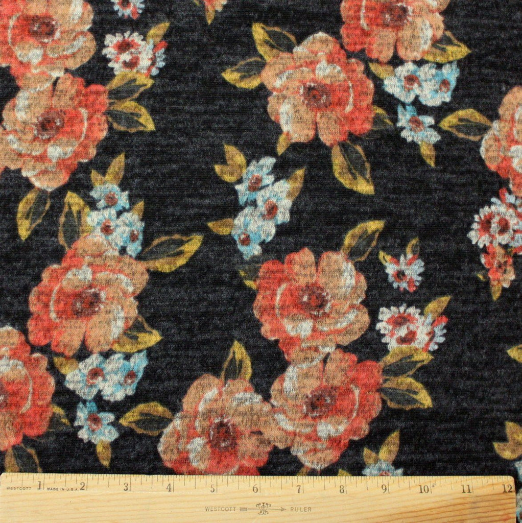 Black Rust Aqua and Mustard Floral Brushed Heathered Hacci Sweater Knit Fabric, 1 Yard
