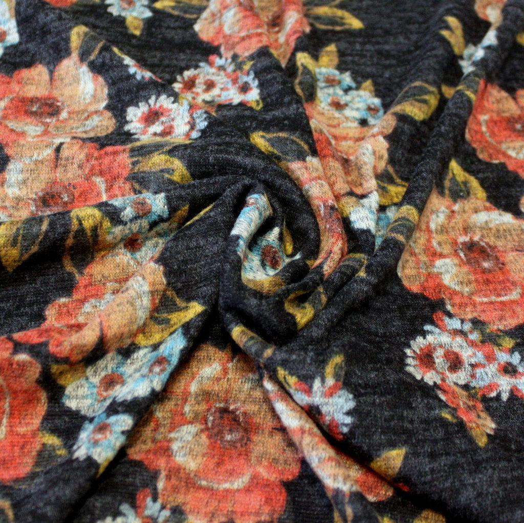 Black Rust Aqua and Mustard Floral Brushed Heathered Hacci Sweater Knit Fabric, 1 Yard - Raspberry Creek Fabrics
