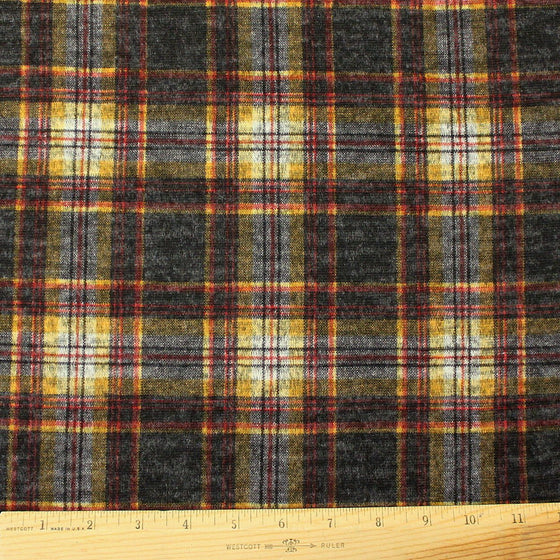 Mustard Red Black and Grey Plaid Brushed Hacci Sweater Knit Fabric, 1 Yard