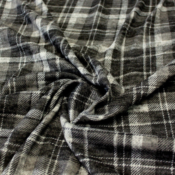 Tonal Black and Grey Plaid Brushed Hacci Sweater Knit Fabric, 1 Yard