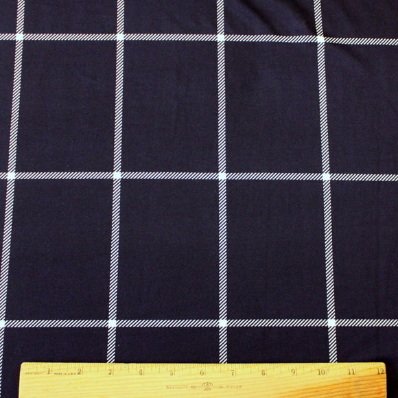Navy and White Large Windowpane Plaid Single Brushed Poly, 1 Yard