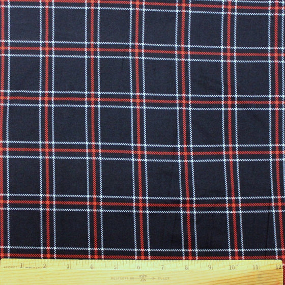 Navy Blue White and Red Plaid Double Brushed Poly, 1 Yard