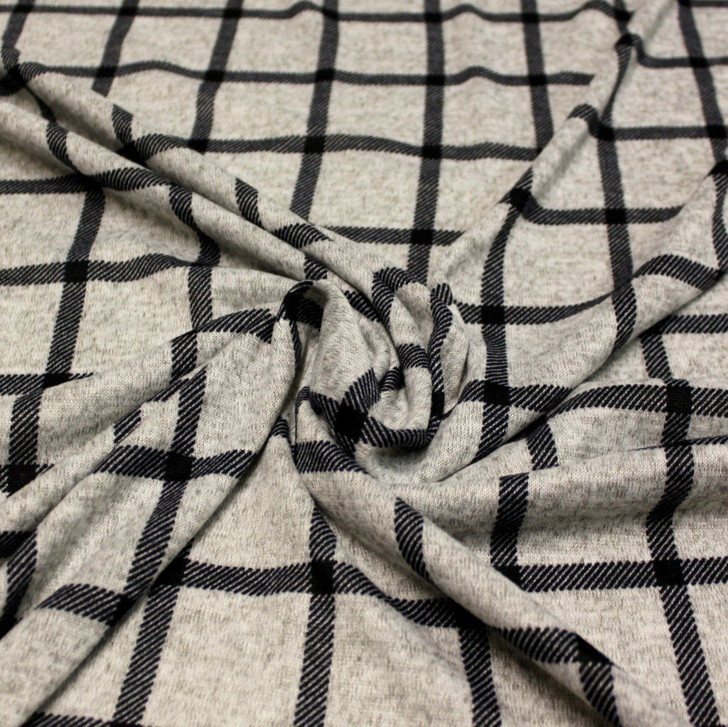 Grey and Black Windowpane Plaid Brushed Heathered Hacci Sweater Knit Fabric, 1 Yard