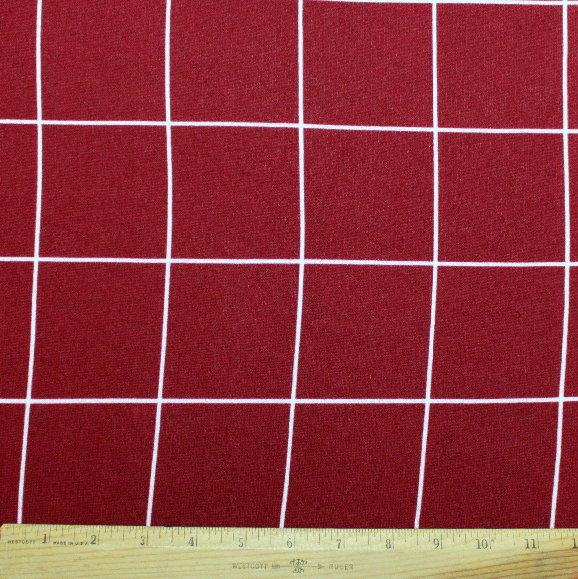 Burgundy and White Windowpane Plaid Brushed Hacci Sweater Knit Fabric, 1 Yard - Raspberry Creek Fabrics