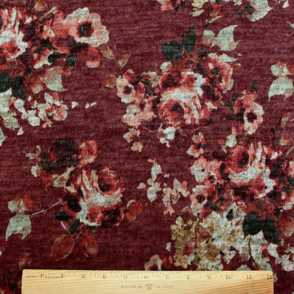 Burgundy Beige Rust and Green Floral Brushed Heathered Hacci Sweater Knit Fabric, 1 Yard