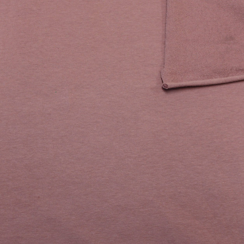 Solid New Mauve 4 Way Stretch French Terry Knit Fabric With Spandex, 1 Yard