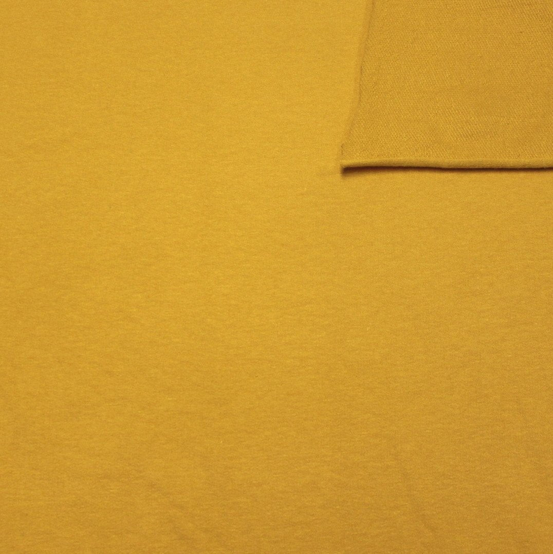 Solid Mustard Yellow 4 Way Stretch French Terry Knit Fabric With Spandex - Raspberry Creek Fabrics