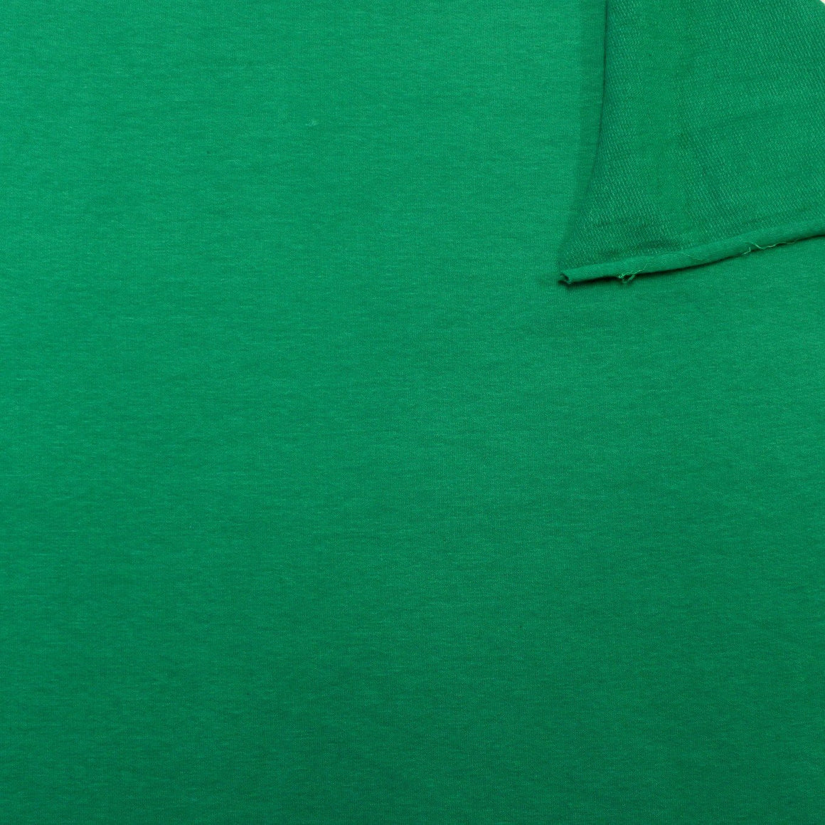 Solid Kelly Green 4 Way Stretch French Terry Knit Fabric With Spandex, 1 Yard