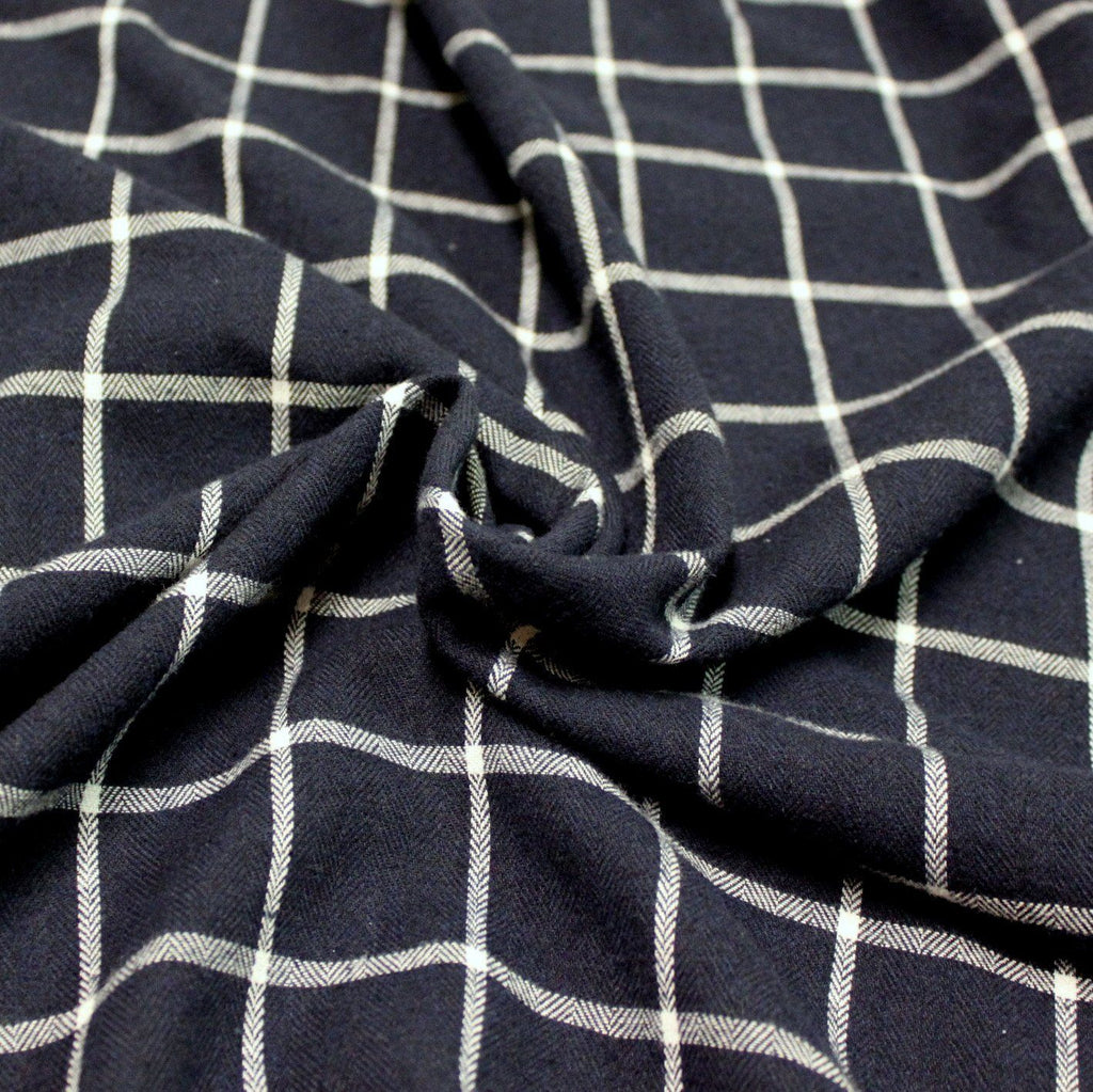 Navy Blue and White Windowpane Plaid Woven Viscose Cotton Yarn Dyed Flannel Shirting - Raspberry Creek Fabrics
