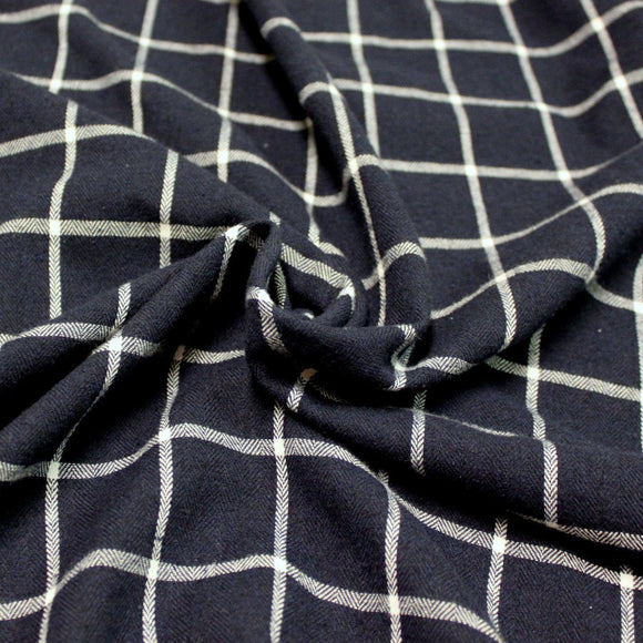 Navy Blue and White Windowpane Plaid Woven Viscose Cotton Yarn Dyed Flannel Shirting