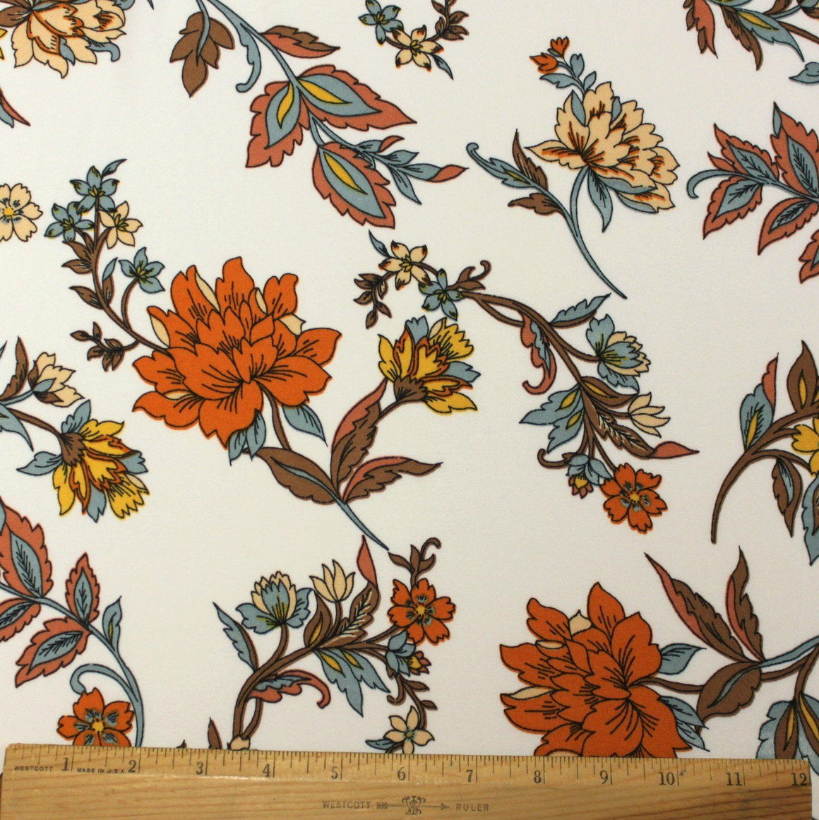 Off White Mustard Orange Brown and Dusty Mint Floral Double Brushed Poly Spandex Knit, 1 yard