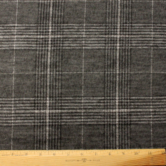 Tonal Grey and White Houndstooth Plaid Brushed Heathered Hacci Sweater Knit Fabric, 1 Yard