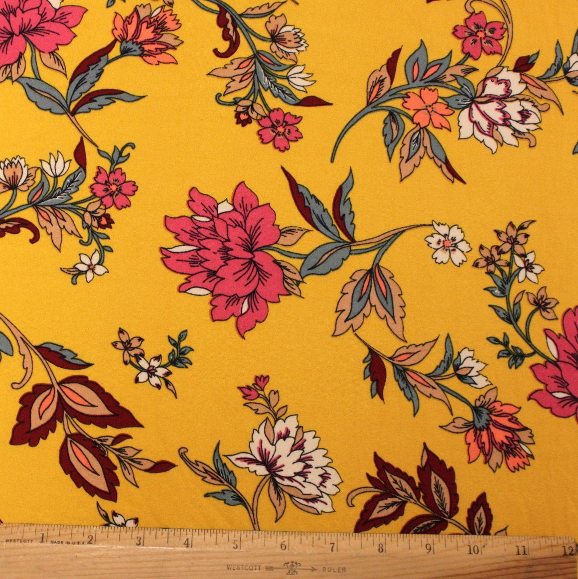 Mustard Burgundy Fuchsia Taupe and Deep Sage Floral Double Brushed Poly Spandex Knit, 1 yard