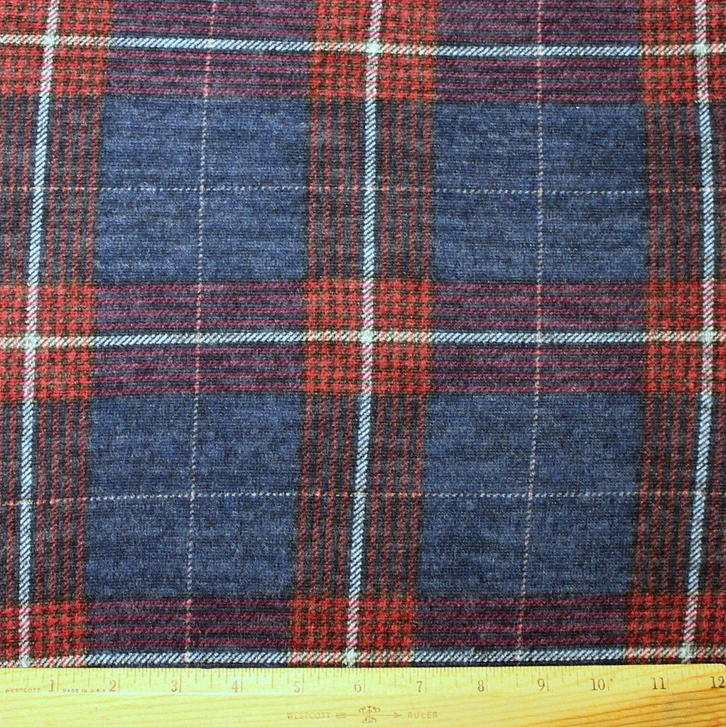 Navy Burgundy Red and White Plaid Brushed Heathered Hacci Sweater Knit Fabric, 1 Yard - Raspberry Creek Fabrics