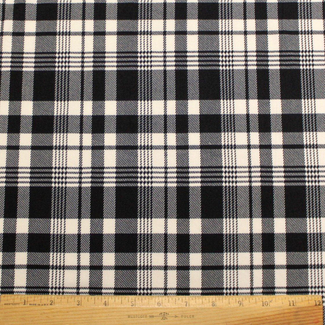 Black and Cream Plaid Double Brushed Poly Spandex Knit, 1 yard