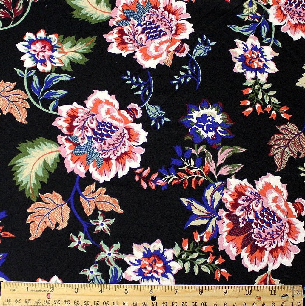 Black Mauve Rust Green and Royal Blue Paisley Floral Double Brushed Poly Spandex Knit - Raspberry Creek Fabrics