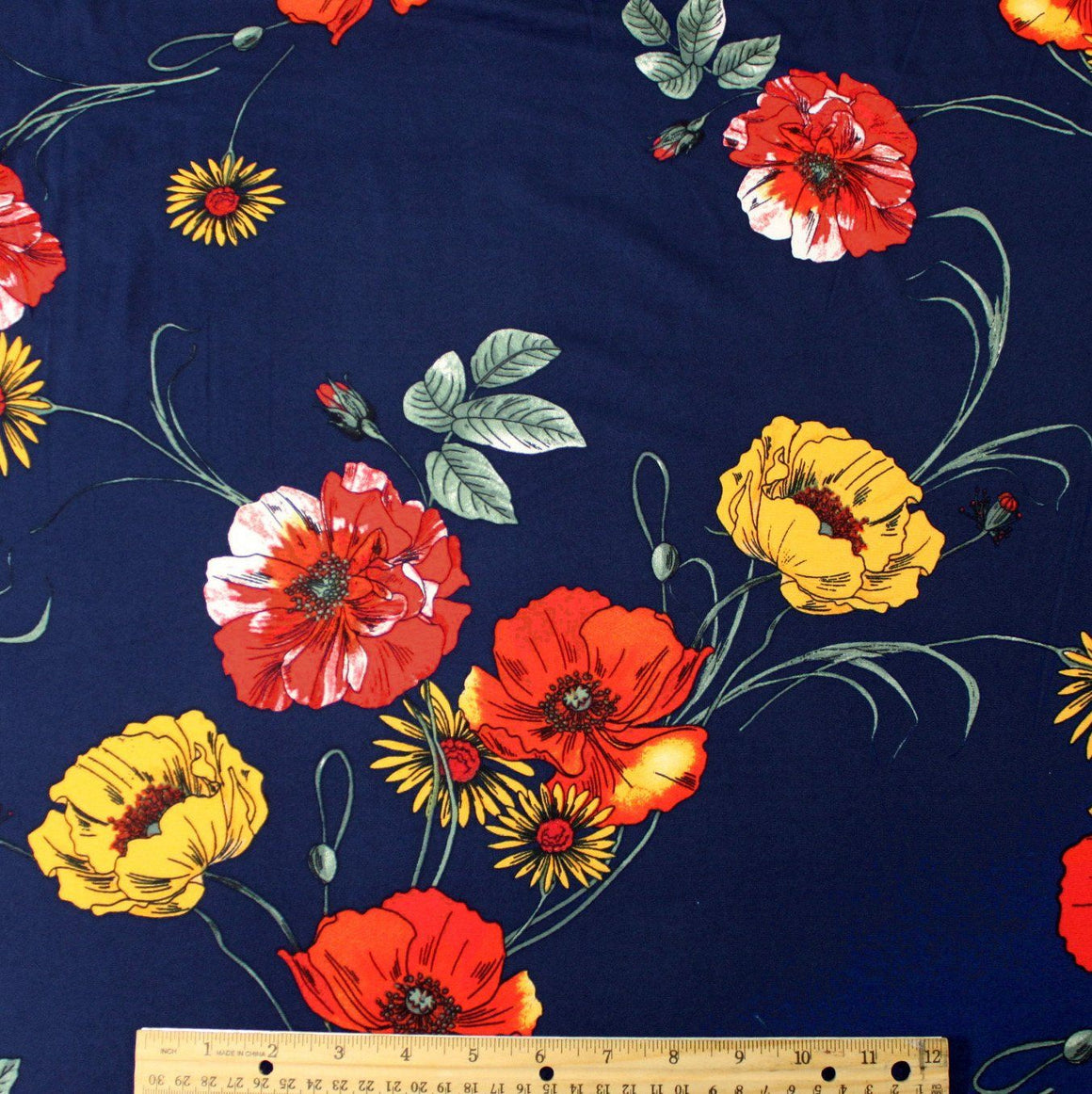Navy Blue Red and Yellow Poppy and Daisy Floral Double Brushed Poly Spandex Knit, 1 yard