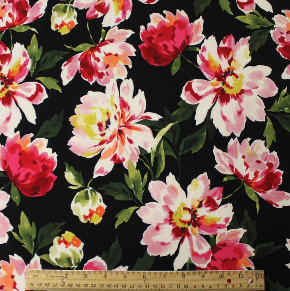 Black Fuchsia Yellow and Green Large Watercolor Floral Double Brushed Poly Spandex Knit, 1 yard - Raspberry Creek Fabrics