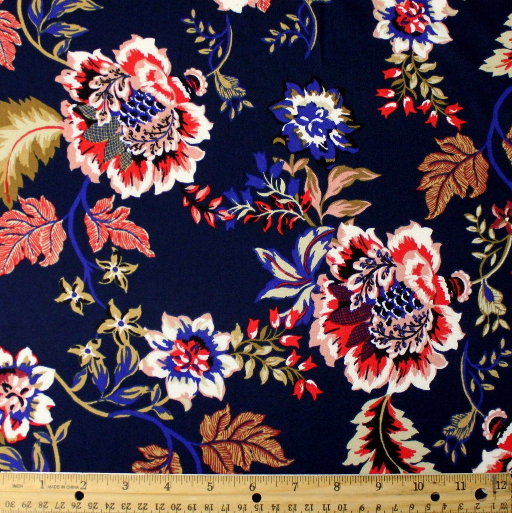 Navy Blue Red White and Gold Paisley Floral Double Brushed Poly Spandex Knit, 1 yard - Raspberry Creek Fabrics