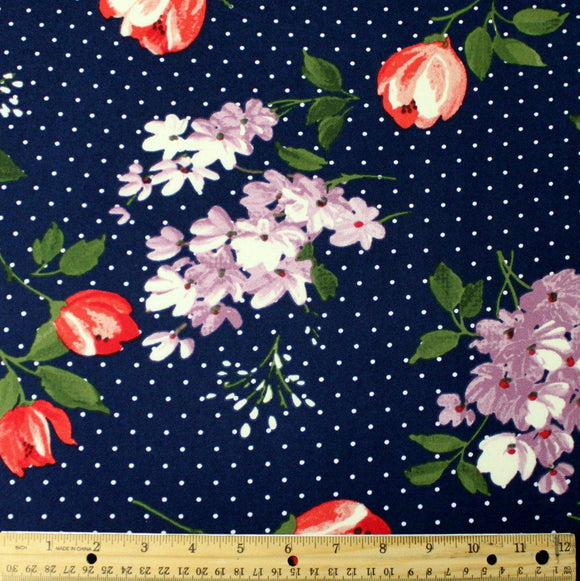 Navy Blue Lilac and Red Tulip Floral Polka Dot Double Brushed Poly Spandex Knit - Raspberry Creek Fabrics