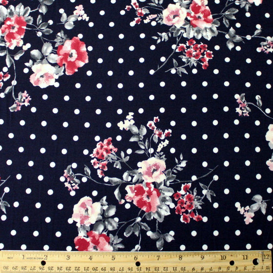 Navy Blue Grey Burgundy and White Floral Polka Dot Double Brushed Poly Spandex Knit, 1 yard