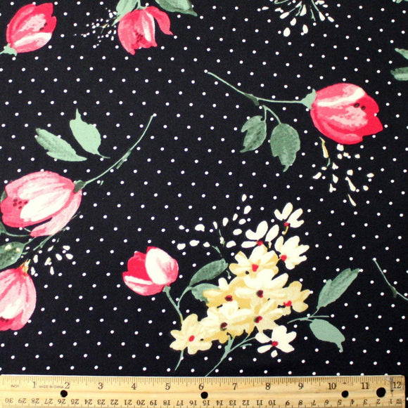 Black Yellow and Fuchsia Tulip Floral Polka Dot Double Brushed Poly Spandex Knit, 1 yard