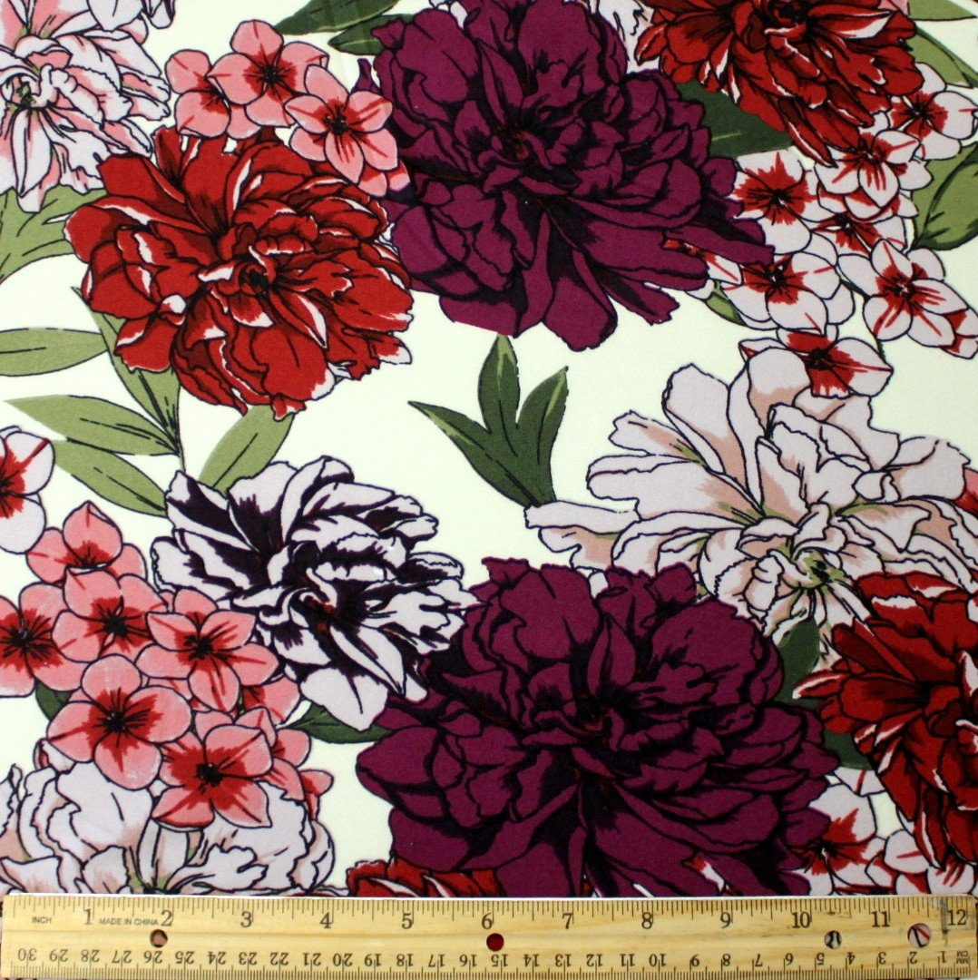 Cream Mauve Olive and Eggplant Floral Double Brushed Poly Spandex Knit, 1 yard - Raspberry Creek Fabrics