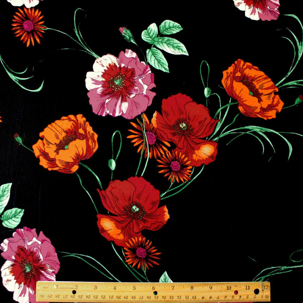 Black Red Orange and Green Poppy Floral Double Brushed Poly Spandex Knit, 1 yard - Raspberry Creek Fabrics