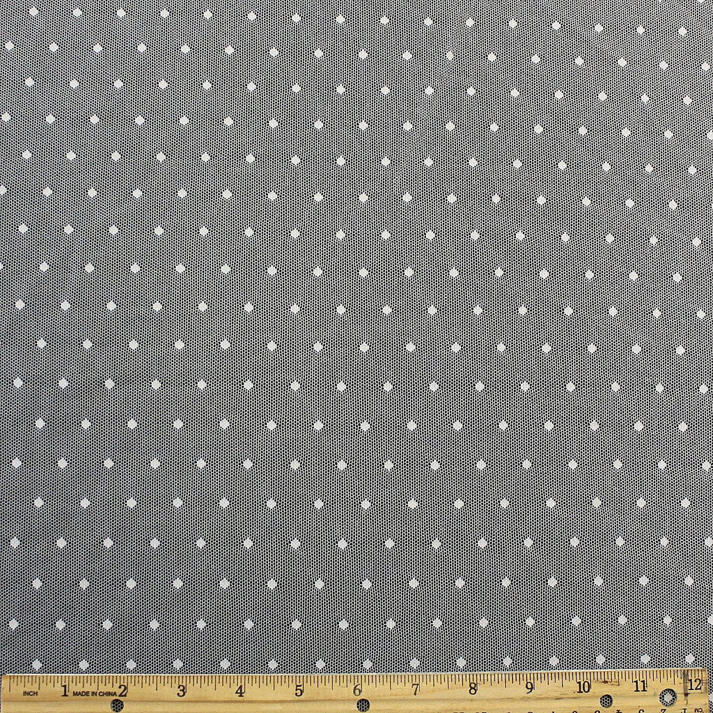 White Nylon Polka Dot Stretch Mesh - Raspberry Creek Fabrics