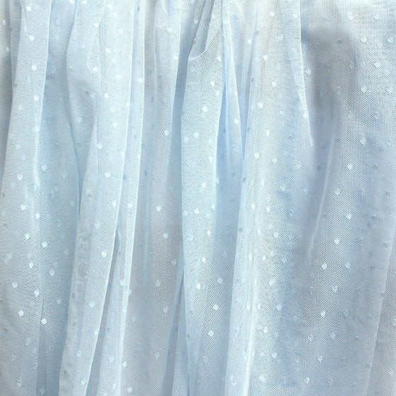 Baby Blue Nylon Polka Dot Stretch Mesh