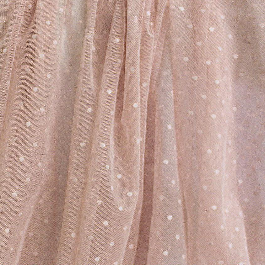 Dusty Pink Nylon Polka Dot Stretch Mesh