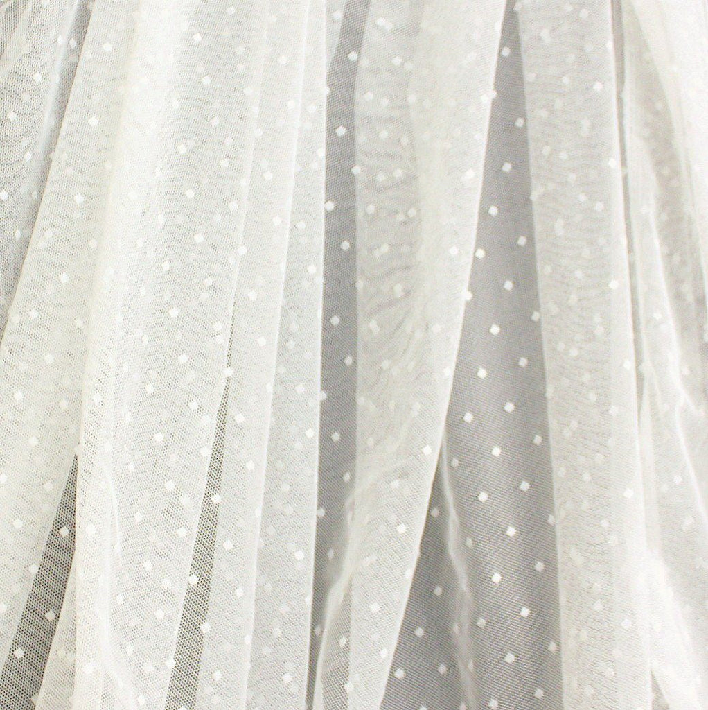 White Nylon Polka Dot Stretch Mesh