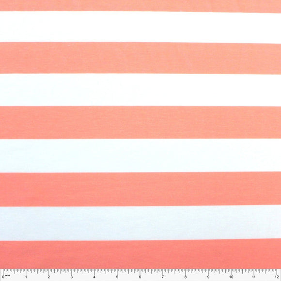Coral and White Wide Rugby Stripe 2 Way Stretch Poly Rayon Spandex French Terry Knit Fabric, CLUB Fabrics - Raspberry Creek Fabrics