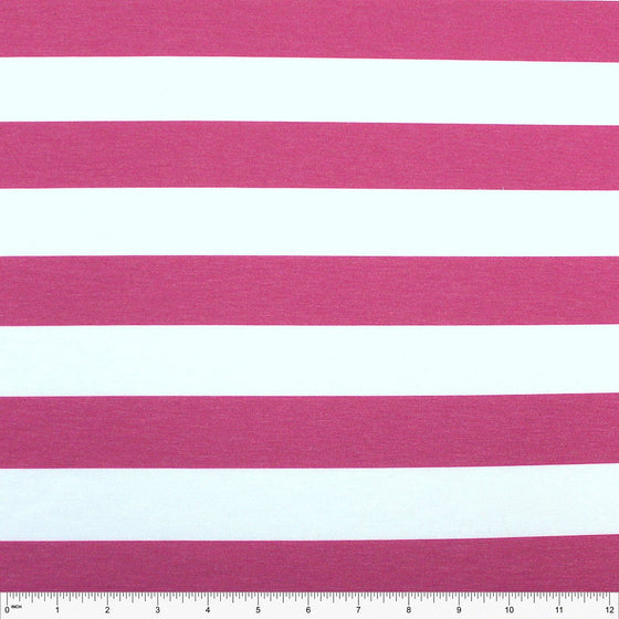 Fuchsia and White Wide Rugby Stripe 2 Way Stretch Poly Rayon Spandex French Terry Knit Fabric, CLUB Fabrics - Raspberry Creek Fabrics