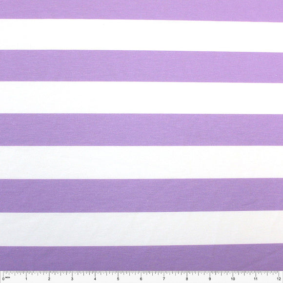 Lilac Purple and White Wide Rugby Stripe 2 Way Stretch Poly Rayon Spandex French Terry Knit Fabric, CLUB Fabrics