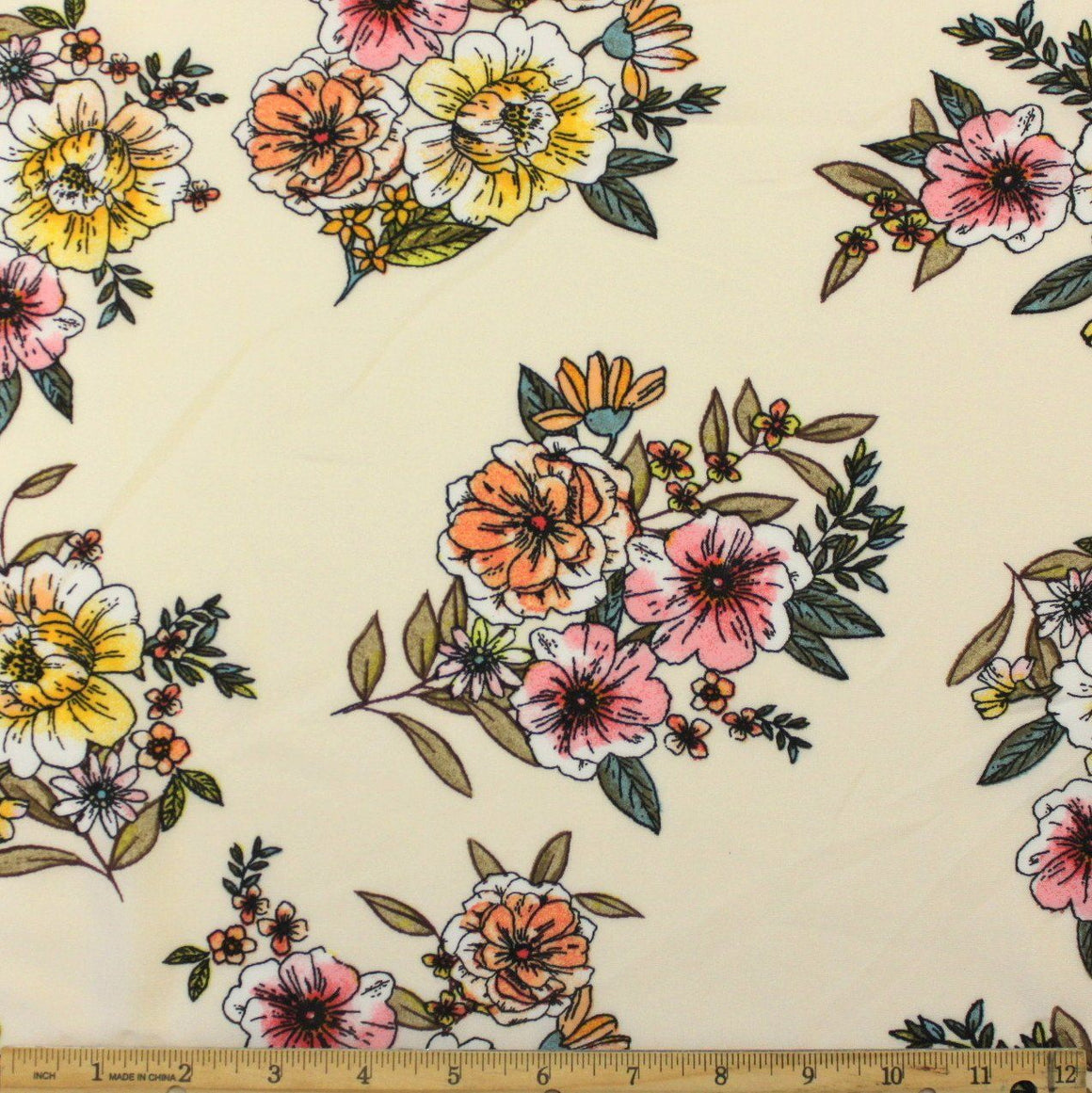 Cream Pink Peach Yellow and Olive Floral Rayon Challis, 1 yard