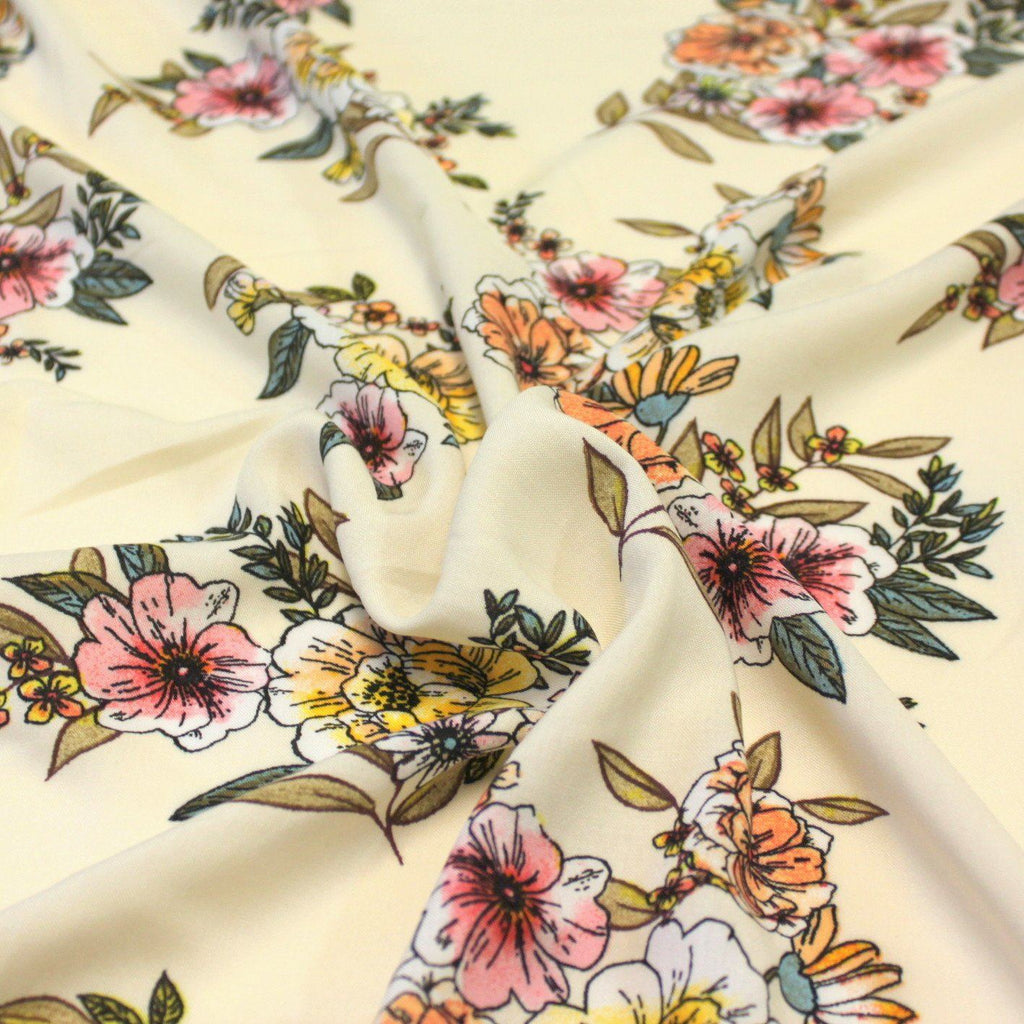 Cream Pink Peach Yellow and Olive Floral Rayon Challis, 1 yard - Raspberry Creek Fabrics