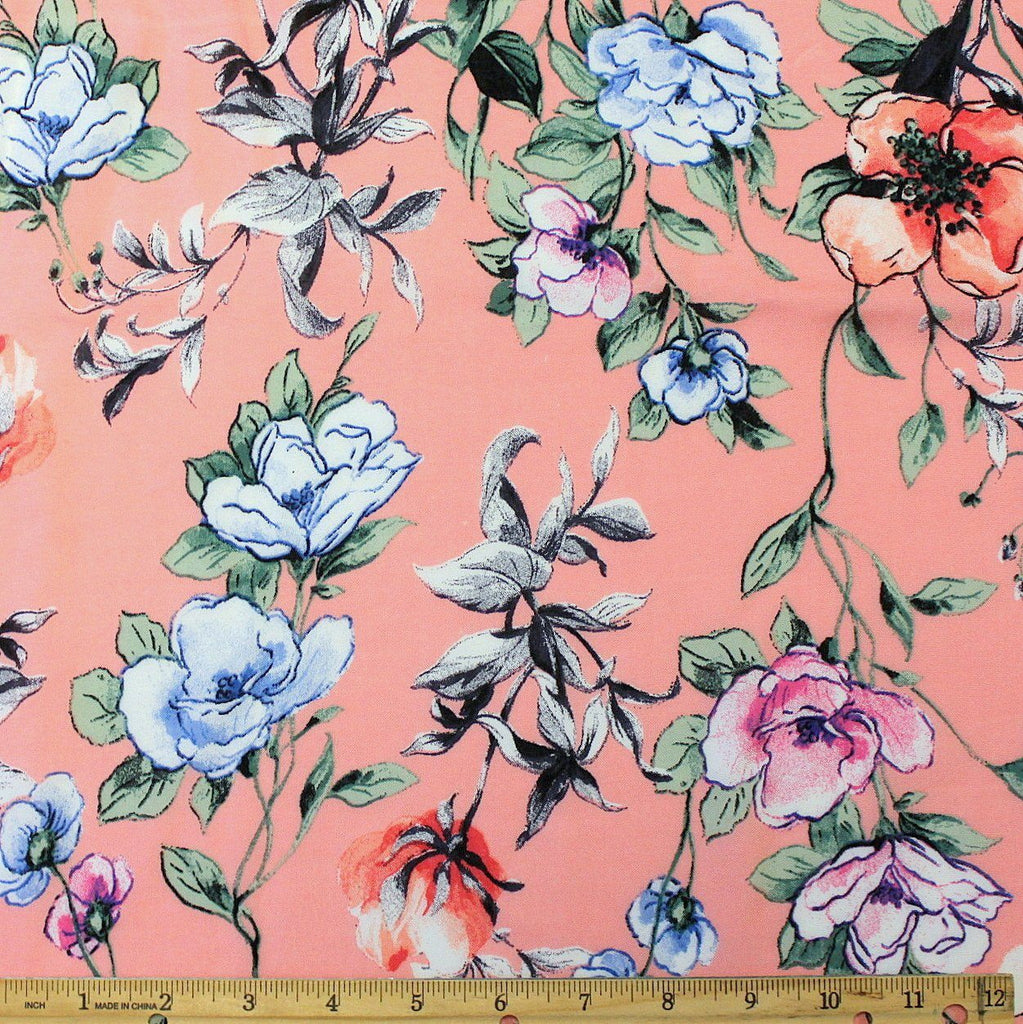 Coral Salmon Sage and Blue Floral Rayon Challis, 1 yard - Raspberry Creek Fabrics