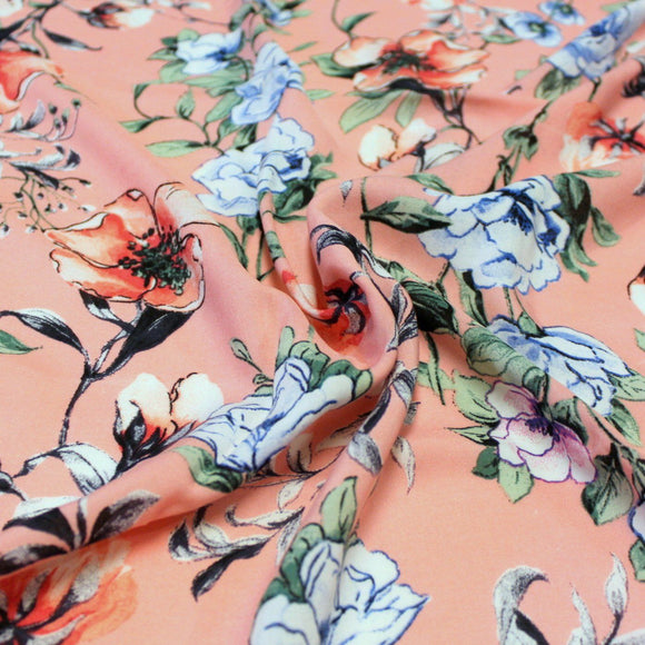 Coral Salmon Sage and Blue Floral Rayon Challis, 1 yard