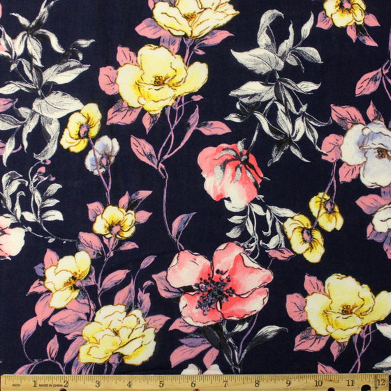 Navy Blue Pink and Yellow Floral Rayon Challis - Raspberry Creek Fabrics